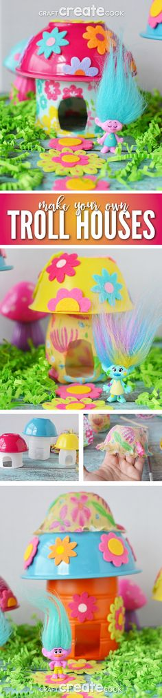 Make your own troll house using plastic recyclables and a few dollar store finds! #trolls #reuse via @CraftCreatCook1