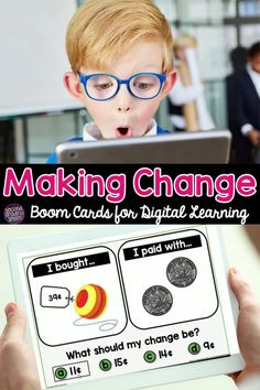 Looking for digital math activities for making change? The money Boom Cards are perfect for second grade or third grade students! Self checking, fun,  and interactive! Kids love them! Learning Money, Fun Learning, Teaching Second Grade, Third Grade, Classroom Routines, Teaching Phonics, Math Workshop, Make A Change, Elementary Math
