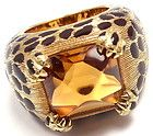 Rare! Authentic Christian Dior Leopard 18k Yellow Gold Citrine Black Enamel Ring - Authentic, Black, Christian, Citrine, Dior, ENAMEL, Gold, Leopard, Rare, Ring, Yellow - http://designerjewelrygalleria.com/christian-dior/christian-dior-rings/rare-authentic-christian-dior-leopard-18k-yellow-gold-citrine-black-enamel-ring-3/