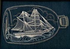 ship in bottle embroidery by knottybirdthreads on Flickr.
