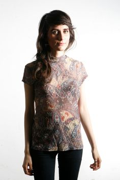 sheer 90s BAROQUE paisley printed LACEY shirt by thesaltonsea, $28.00
