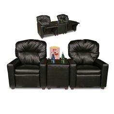 Skip the movie theater and stay at home with this Child Recliner Chair Theater Seating from Dozydotes! As mom and dad cuddle up on the couch, kids can relax in a child-size recliner