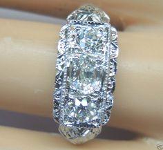 Antique Fine Diamond Engagement Ring Platinum Art Deco Estate Vintage Filigree