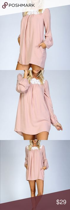 """Pink Shirt Dress 💕Woven long sleeve shirt dress. Venice appliqué at front neckline. Long sleeve with tapered cuffs and button closure. Pleated at center front and back. Pockets at side seams. 100% rayon. Lying flat, size S, underarm to hem approx 22"""", width underarm to underarm approx 17"""". Dresses"""