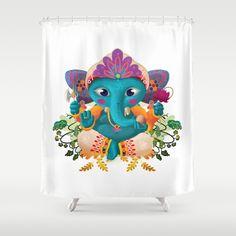 Little Ganesha Shower Curtain by Diozen