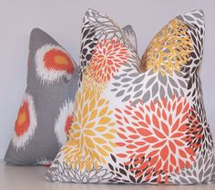Orange Pillows Pair Pillows PILLOW COVER by Cathyscustompillows