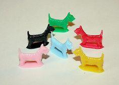 Vtg Plastic Toy Dog Scotties Set Gum Machine Dime Store 1960s Nos New