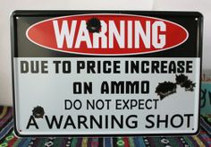 A WARNING GUN SHOT Funny Retro Metal Tin Sign Poster Garage Bar Wall Decor 8x12""
