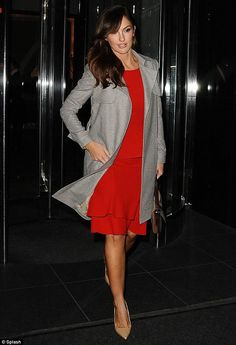 c49a0bd421 Minka Kelly makes an elegant exit as she slips into a scarlet dress and  chic grey coat