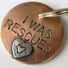 I WAS RESCUED Pet Tag Copper and Sterling Silver Dog by UrbanPuppy, $18.00