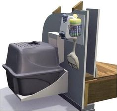 Cat door in the wall to your garage - litter box on the garage side. No more stinky litter box in the house!! http://www.kitydevilcat.com/product-category/cats-furniture/houses/