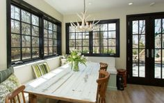Beautiful Designs Framed By Black Window Trims : Traditional Dining Area With Black Window Frames And Old Table Black Vinyl Windows, Black Window Trims, Windows And Doors, Window Frames, Window Design, Dining Room Design, Home Decor Inspiration, Decor Ideas, House