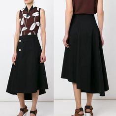 MARNI スカート MARNI(マルニ) フレアアシンメトリーブラックスカート skirt 黒(2)