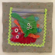 Little Miss Stitcher: Quiet Book ziploc bag used to hold monsters