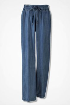 The definition of easy-to-wear, these comfy casual pants are light and fluid Tencel that's indigo-dyed and washed for an authentic denim-look hue. Formal Pants Women, Pants For Women, Comfy Casual, Casual Pants, Plus Clothing, Soft Pants, Ankle Pants, Wardrobe Staples, New Dress