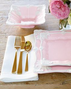 Horchow 12-Piece Pink Square Baroque Dinnerware Service | Dinnerware Squares and Kitchenware & Horchow 12-Piece Pink Square Baroque Dinnerware Service | Dinnerware ...