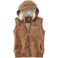 Carhartt Weathered Duck Wildwood Vest ($75) ❤ liked on Polyvore featuring outerwear, vests, brown vest, carhartt, brown waistcoat, carhartt vest and vest waistcoat
