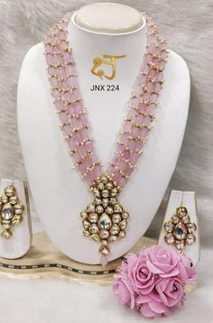 VeroniQ Trends-Royal Designer Rani Haar in Kundan und Faux Light Pink Edelstein Perlen Halskette Set-Hyderabadi, Lucknowi, Jaipuri, Indian - jewelry trends Fancy Jewellery, Gold Jewellery Design, Bead Jewellery, Pendant Jewelry, Beaded Jewelry, Jewelery, Beaded Necklace, Strand Necklace, Coral Jewelry