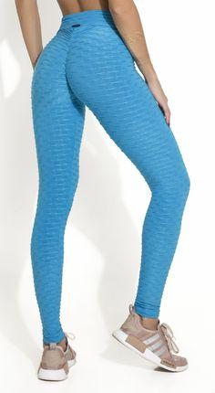 c97cf0f5958df2 Brazilian Legging - Anti Cellulite Honeycomb Textured Scrunch Booty Sky Blue