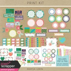 Includes un-textured elements in PNG and PDF form for easy and clean printing. Page Marker, Spring Fever, Digital Scrapbooking, Printables, Kit, Stickers, Graphic Design, Planner Ideas, Prints