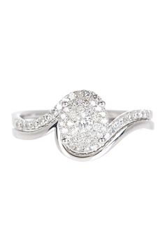 14K white gold prong set pave diamonds set in round shape with pave diamond swirled shank and matching polished band ring set