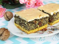 Makowiec japoński z pianką Spanakopita, Salmon Burgers, Tea Party, Sandwiches, Cooking Recipes, Cooking Ideas, Food And Drink, Baking, Ethnic Recipes