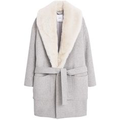 Mango Wool Overcoat, Light Pastel Grey (410 BAM) ❤ liked on Polyvore featuring outerwear, coats, jackets, pastel coat, grey coat, wool coat, mango coat and bow coat