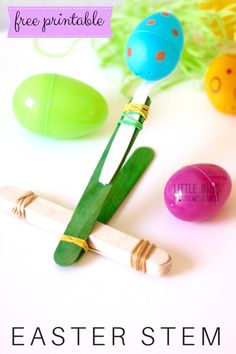 Easter Catapult STEM Activity with Plastic Easter Eggs. Includes Free Printable STEM worksheet!