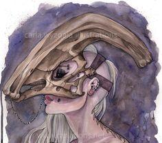 Parasaurolophus Dinosaur Skull Mask watercolor by carlationsart