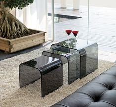 Design Couchtische Rauchglas Ineinander Stapeln