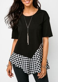 Obsessed with this cute twist on a classic black shirt! The Polka Dot Print Black Asymmetric Hem T Shirt is funky, yet classic. Such a great blouse for work or to pair with leggings or jeans for a date night! Stylish Tops For Girls, Trendy Tops For Women, Polka Dot T Shirts, Polka Dot Print, Trendy Fashion, Fashion Outfits, Womens Fashion, Plus Size Blouses, Refashioned Clothes