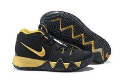 Factory Authentic 2018 Men Nike Kyrie 4 Coal Black Gold Discount Sale Nike  Kd Shoes a398c9da1