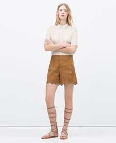 Pin for Later: 29 Anything-but-Denim Shorts You're Going to Love Zara Suede Cutwork Shorts Zara Suede Cutwork Shorts (£70)