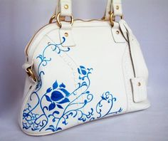 Free shipping Hand Painted Bluewhite style by HandPaintedBag, $129.00