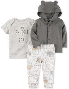 Carter's 3-Pc. Cotton Hoodie, Snuggle T-Shirt & Jogger Pants Set, Baby Boys & Girls (0-24 months)
