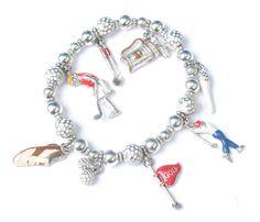 Ladies Golf Charm Bracelet Enameled Charms Stretch Bracelet Gift for Her #Unbranded #StretchBracelet