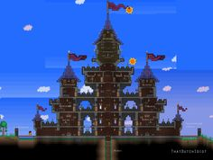 Traditional turreted castle design in Terraria