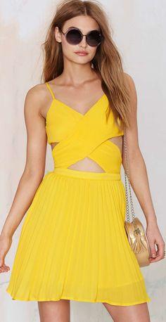 yellow cut out dress