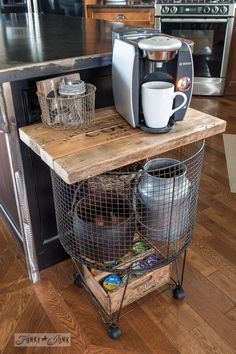 Add space with antique helpers, like this vintage cart / Create a rustic, farmhouse kitchen with these easy ideas! By Funky Junk Interiors for Ebay