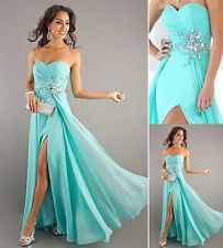 Front Slit Long Formal Prom Dress Graduation Party Evening Ball Gown IN STOCK