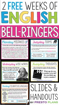 Free english bell ringers - volume 3 Begin each of your middle or high school English classes with these daily bell-ringer routines for two weeks! Each day has a different engaging activity that your students will love. Ela Classroom, Middle School Classroom, English Classroom, English Teachers, Future Classroom, Classroom Ideas, Middle School Ela, Middle School English, 9th Grade English
