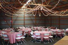 String Lights Hung in Barn - Rustic Party