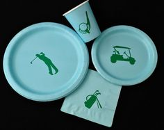 Golf Party Pack  This party pack includes the following items: - 24 large paper plates (9in.) - 24 small paper plates (7in.) - 24 paper cups (9 oz.) - 24 beverage napkins (5 x 5)  This party pack will be the perfect addition to your event, whether it's a birthday, wedding, BBQ, baby shower, bachelorette party, graduation, retirement, and more. At Stesha Party, we design our decals to match a variety of themes, and we cut them from strong vinyl available in an array of vibrant colors. Truly…
