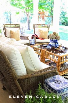 Eleven Gables Back Porch Patio Outdoor Living Room. Bamboo, Wicker