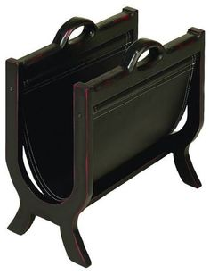 Wood Leather Magazine Holder With Leather Cover
