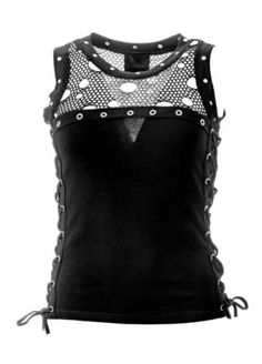 Queen of Darkness Ripped Net Lace-Up Vest