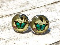 Ohrstecker Vintage Schmetterling grün Silber