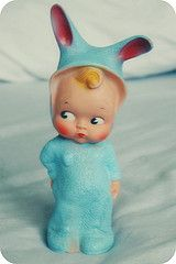 cute rubber doll with bunny ears