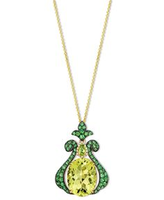 Le Vian 14k Gold Necklace, Lime Quartz (8-5/8 ct. t.w.) Peridot (1/6 ct. t.w.) and Diamond Accent Gladiator Pendant - Necklaces - Jewelry & Watches - Macy's