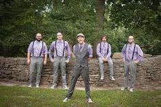 groom & groomsmen in lavender Vintage Groomsmen Attire, Groomsmen Attire Suspenders, Casual Wedding Attire, Groom Attire, Groomsmen Attire Purple, Casual Grooms, Groom Suits, Lilac Wedding, Wedding Men